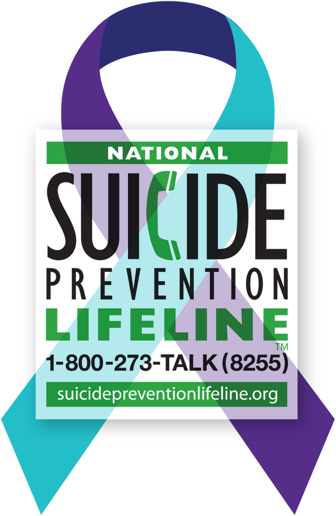 suicide prevention lifeline with ribbon